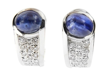 Made in Italy - 18 kt. White gold - Earrings - 3.00 ct Sapphire - Diamonds