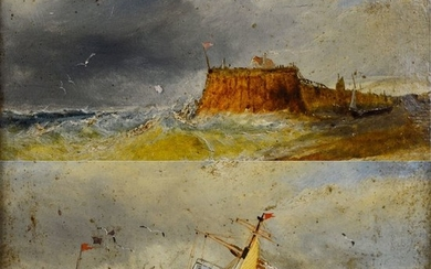Marine School (19th century) - A pair of coastal scenes including a paddle steamer.