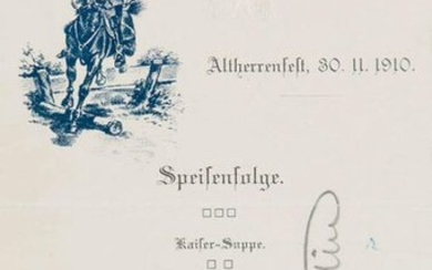 Menu and music program, signed by Graf Zeppelin. 1910. sheet size 19 x 12 cm.