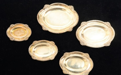 Miniature Sterling Silver Graduated Oval Trays, 5