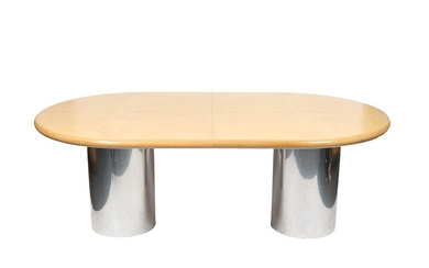 Modern Oval Top Double Pedestal Dining Table