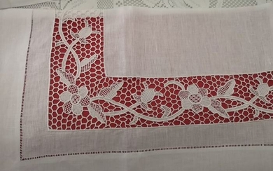 Museum !! Pure linen sheet with Burano di Venezia embroidery completely handmade - Linen