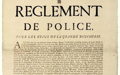 """ORLÉANS (Loiret). 1729. """"POLICE REGULATIONS FOR THE VICES OF THE GREAT BUTCHERY."""" April 21, 1729 """"...George Vandebergue, Councillor to the King, & H.S.H. Monseigneur, First Prince of Blood, Duke of Orleans, Lieutenant General of Police of the City..."""