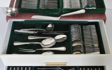 Oneida Silversmiths - Cutlery 12-persons incl. Fish cutlery / 128-piece with pearl edge motif in cassette - Silverplate