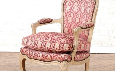 PAINTED FRENCH OPEN ARM CHAIRS LOUIS XV STYLE
