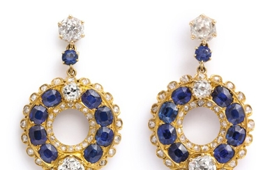 PAIR OF GOLD, SAPPHIRE AND DIAMOND EARRINGS
