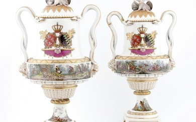 PAIR OF LARGE COVERED VASES