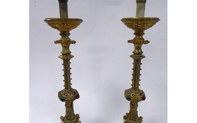 PAIR OF LATE VICTORIAN GOTHIC REVIVAL COLOURED GLASS MOUNTED...