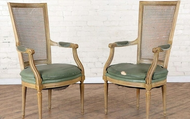 PAIR PAINTED LOUIS XVI STYLE OPEN ARM CHAIRS 1940