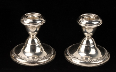 PAIR SILVER CANDLESTICKS CANDLE HOLDERS