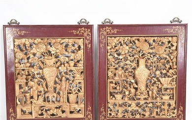 Pair of Chinese Gilt Wood Carved Panels
