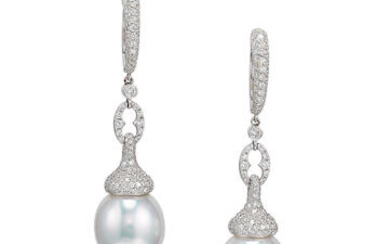 Pair of Cultured Pearl and Diamond Pendent Earrings