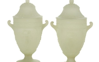 Pair of French Glass Covered Urn-Form Lamps