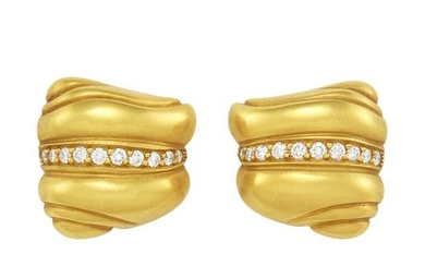 Pair of Gold and Diamond Earclips, Barry Kieselstein-Cord