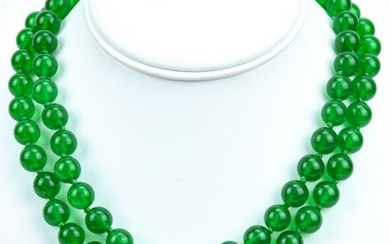 Pair of Hand Knotted Green Nephrite Jade Necklaces
