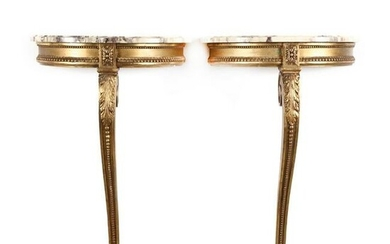 Pair of Vintage Italian Carved and Gilt Marble Top