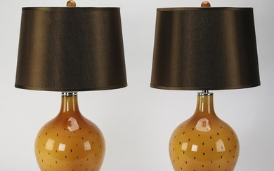 Pair of contemporary glass table lamps