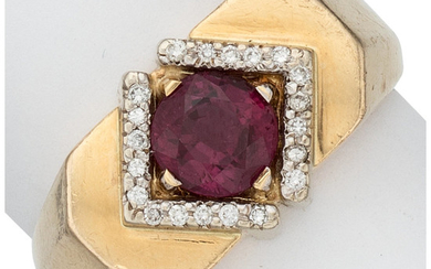 Pink Sapphire, Diamond, Gold Ring The ring centers a...