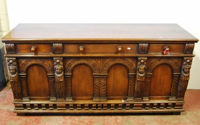 Queen Anne style oak dresser with moulded rectangular top ov...