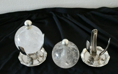 Rock Crystal Acc on Silver plated Antique Gorham stands