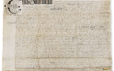 "Runnymede.- Indenture agreement between William Lord Chandos, Samuel Wilde to pay Rebecca Clarke £230 bargain and sale ""all those three acres of meadow... called Runney Meade"", manuscript document on vellum, 1674."
