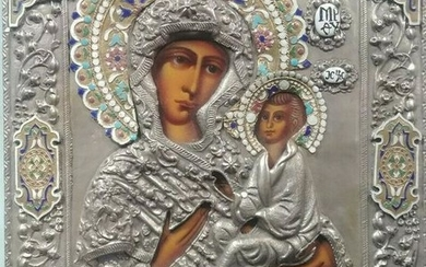 Russian Icon Of The Mother of God with enamel Oklad