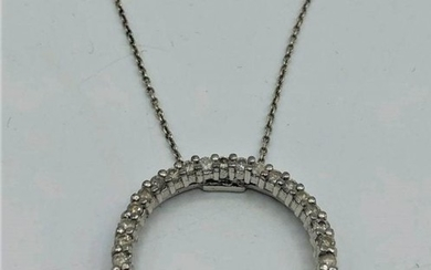 STERLING SILVER DIAMONDS PENDANT AND CHAIN