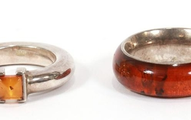 STERLING SILVER & AMBER RINGS, 2 PCS.