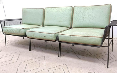 Salterini Style 3pc Sectional Sofa Couch. Wrought iron