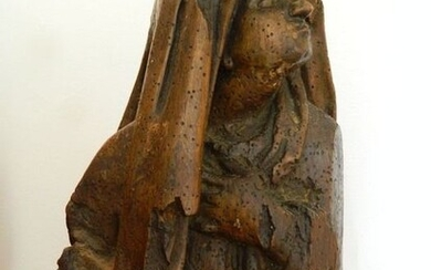 Sculpture, Virgin of an ordeal - 51 cm - Gothic - Wood - Late 15th century