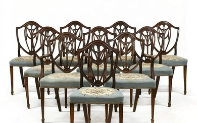 Set of Ten Antique English Hepplewhite Style Mahogany
