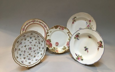 Set of five plates with flower decoration