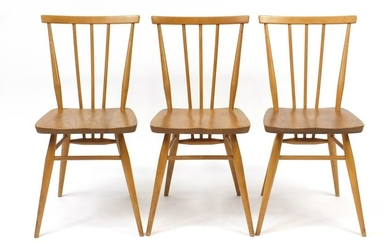 Set of three Ercol Windsor light elm stick back chairs,