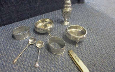 Silver - a pair of Georgian salts and spoons A/F, two napkin...