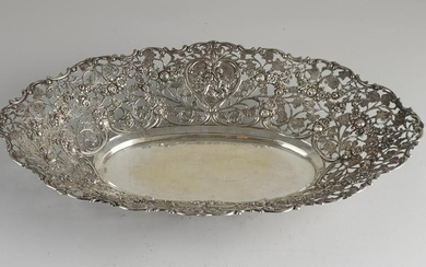 Silver dish, 800/000, openwork oval model decorated