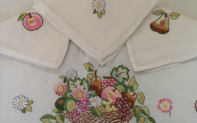 Spectacular Tablecloth x12 P. Full by hand - Linen - AFTER 2000