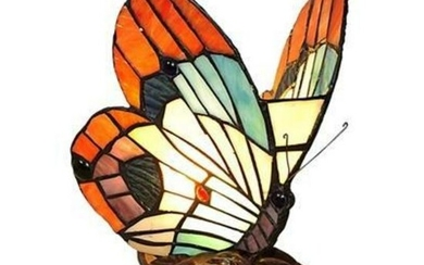 Stained Glass Butterfly Accent Lamp
