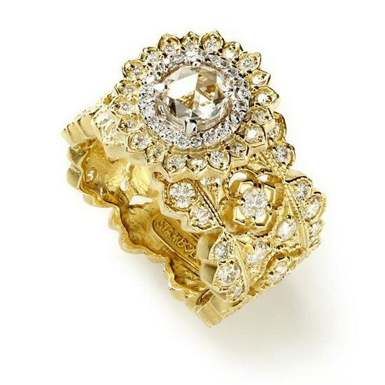 Stambolian Yellow Gold Passion Ring with Diamonds