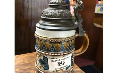 Stein by Mettlach with metal lid and leaf decoration to pott...