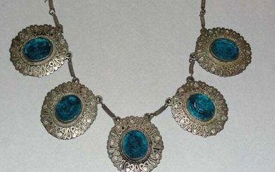Sterling Silver and Faceted Blue Glass Necklace