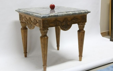 THEODORE ALEXANDER MARBLE TOP SIDE TABLE