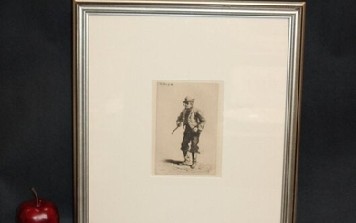 TW Wood (Thomas Waterman Wood) etching Man of War