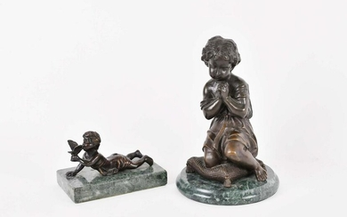 TWO CONTINENTAL PATINATED FIGURAL BRONZES