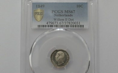 The Netherlands - 10 cent 1849a Willem II in Slab - Silver