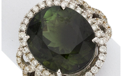 Tourmaline, Diamond, White Gold Ring The ring features an...