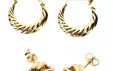 Two Pair of 14K Yellow Gold Earrings