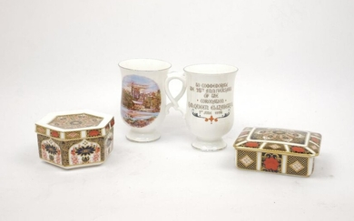 Two Royal Crown Derby porcelain boxes and...