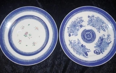 Two early 19th Century Chinese Export ware plates (diameter ...