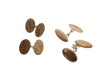 Two pairs of 9ct gold oval cufflinks, 12.2g gross...