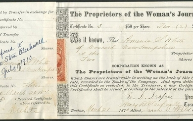 U.S.A.: Proprietors of the Woman's Journal, $50 shares, Boston 187[0], #3, signed by Henry B. B...